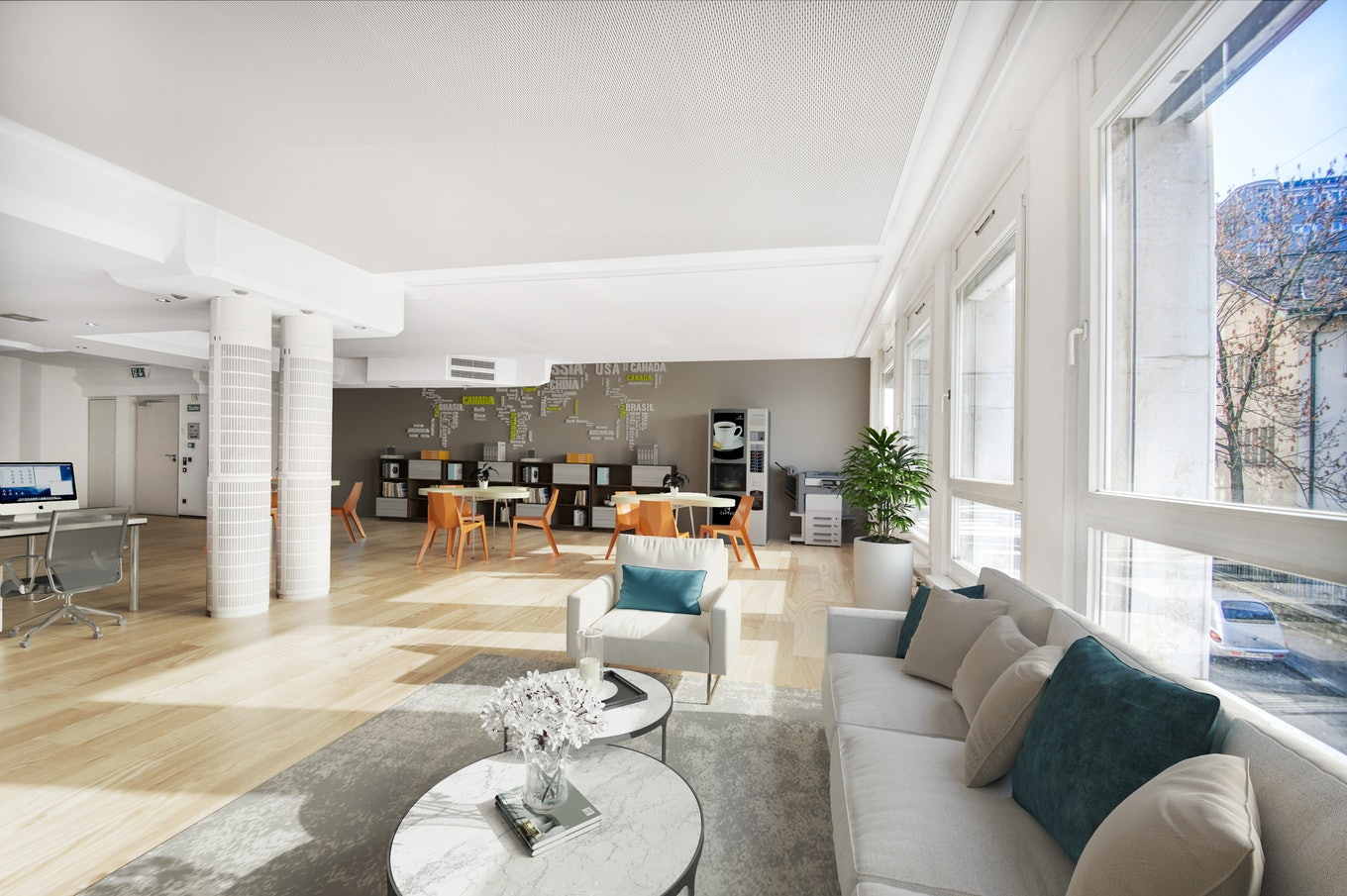 3D staging interior office with sofa