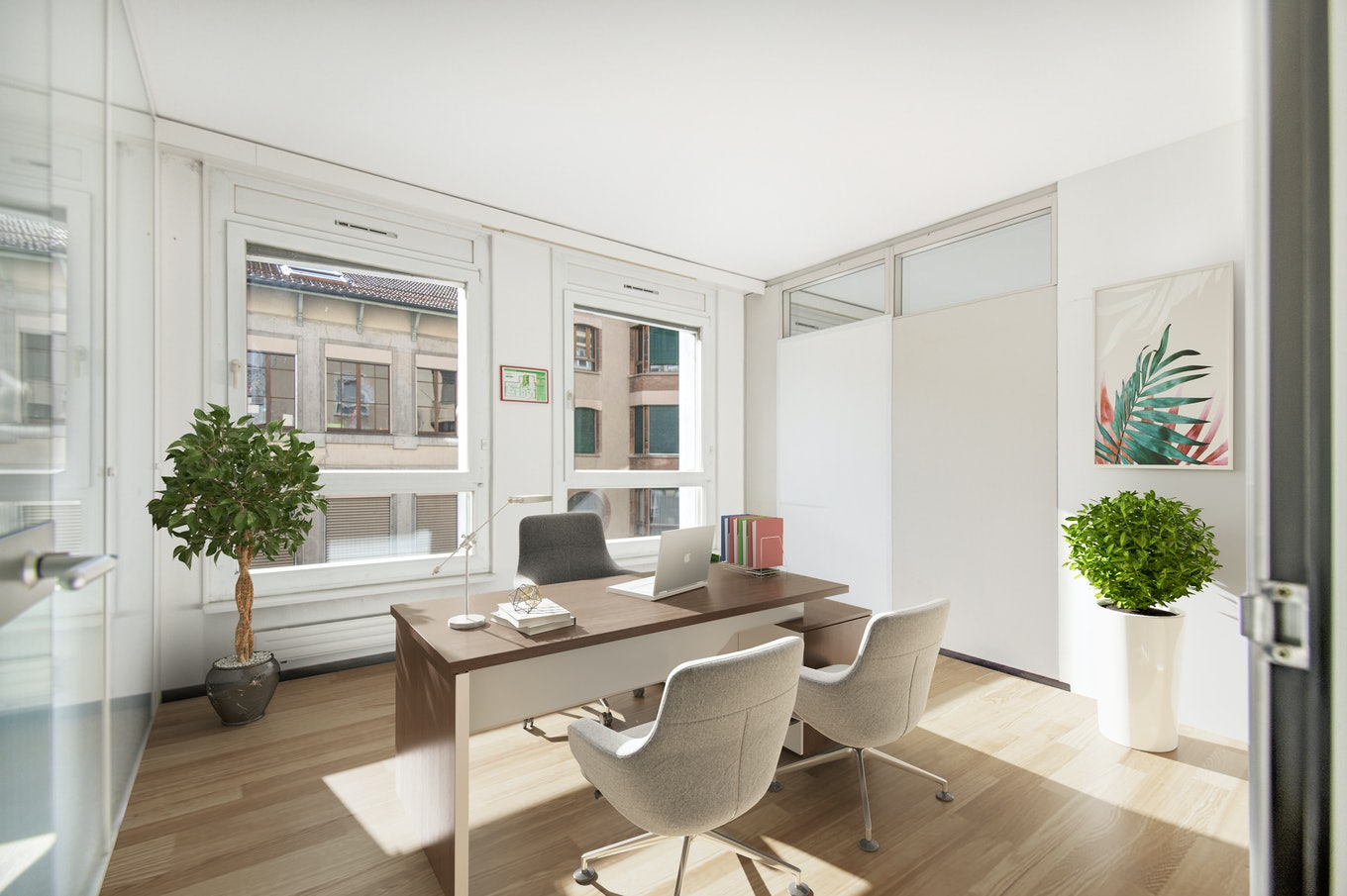 3D staging office interior chairs