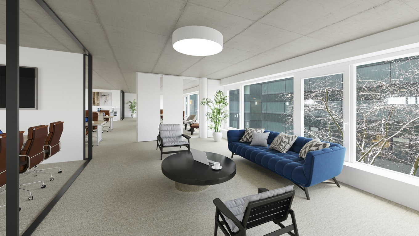 Staged office with modern furniture
