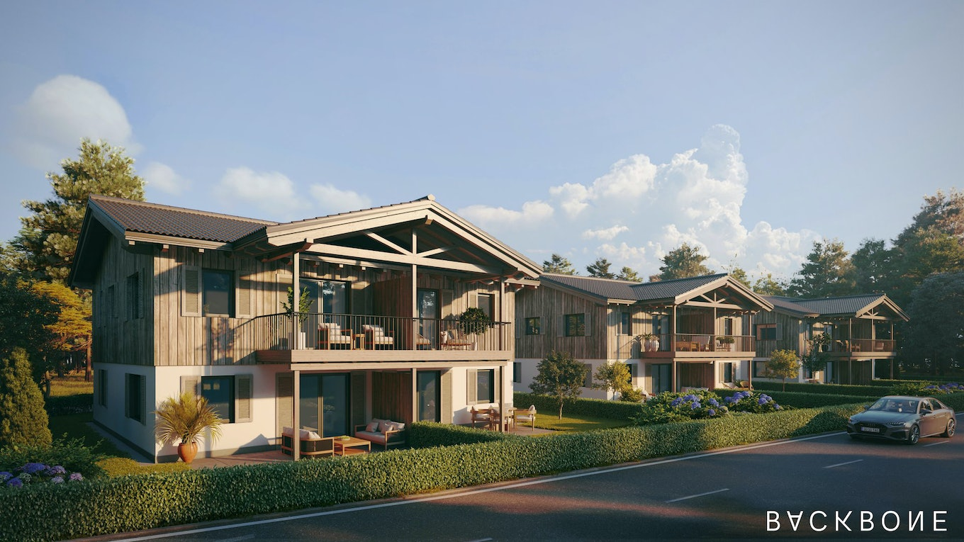 Rendering exterior chalet ambiance